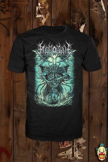 "The ""Cthulhu"" design (green variant) shown on a black t-shirt"