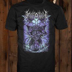 "The ""Cthulhu"" design (purple variant) shown on a black t-shirt"