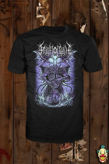 "The ""Cthulhu"" design (purple variant) shown on a black t-shirt"