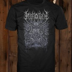 "The ""Extra-Terrestrial Abomination"" design shown on a black t-shirt"