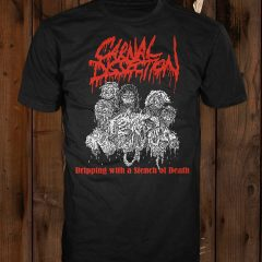 A mockup of the Carnal Dissection t-shirt