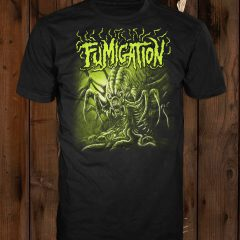 A mockup of the design in green on a black t-shirt