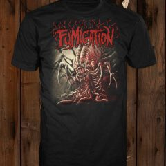 A mockup of the design in red on a black t-shirt