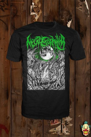 A mockup of the front design on a black t-shirt