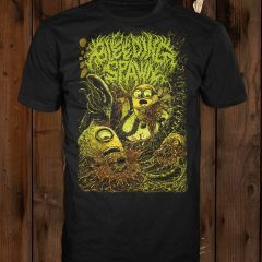 Mockup of the t-shirt design on a black shirt