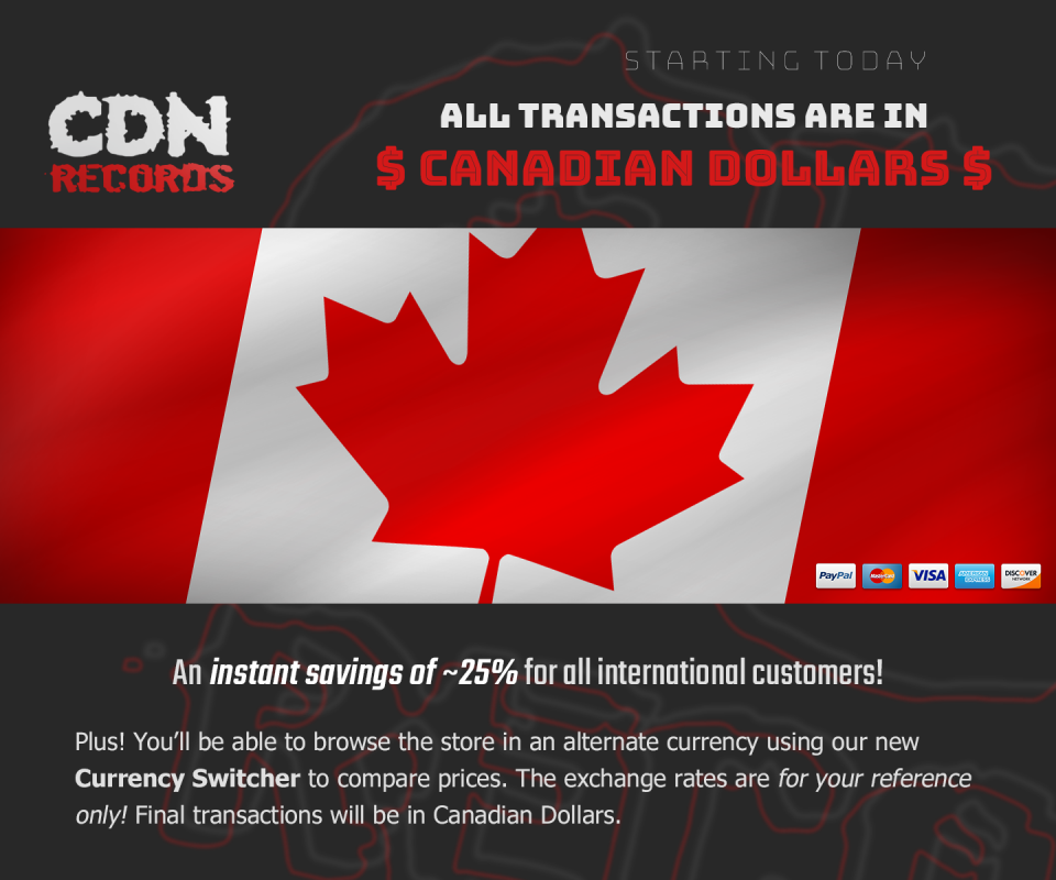 A banner image promoting all transactions in Canadian Dollars
