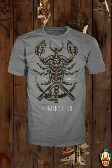 Scorpion design on a charcoal t-shirt