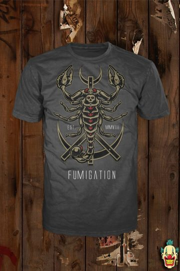 Scorpion design on a dark charcoal t-shirt