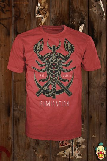 Scorpion design on a red t-shirt