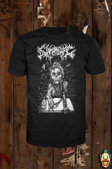 High On Slams design in black & white on a black t-shirt