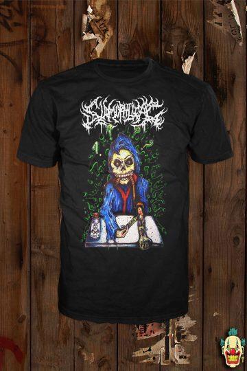 High On Slams design in colour on a black t-shirt