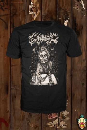 High On Slams design in sepia on a black t-shirt