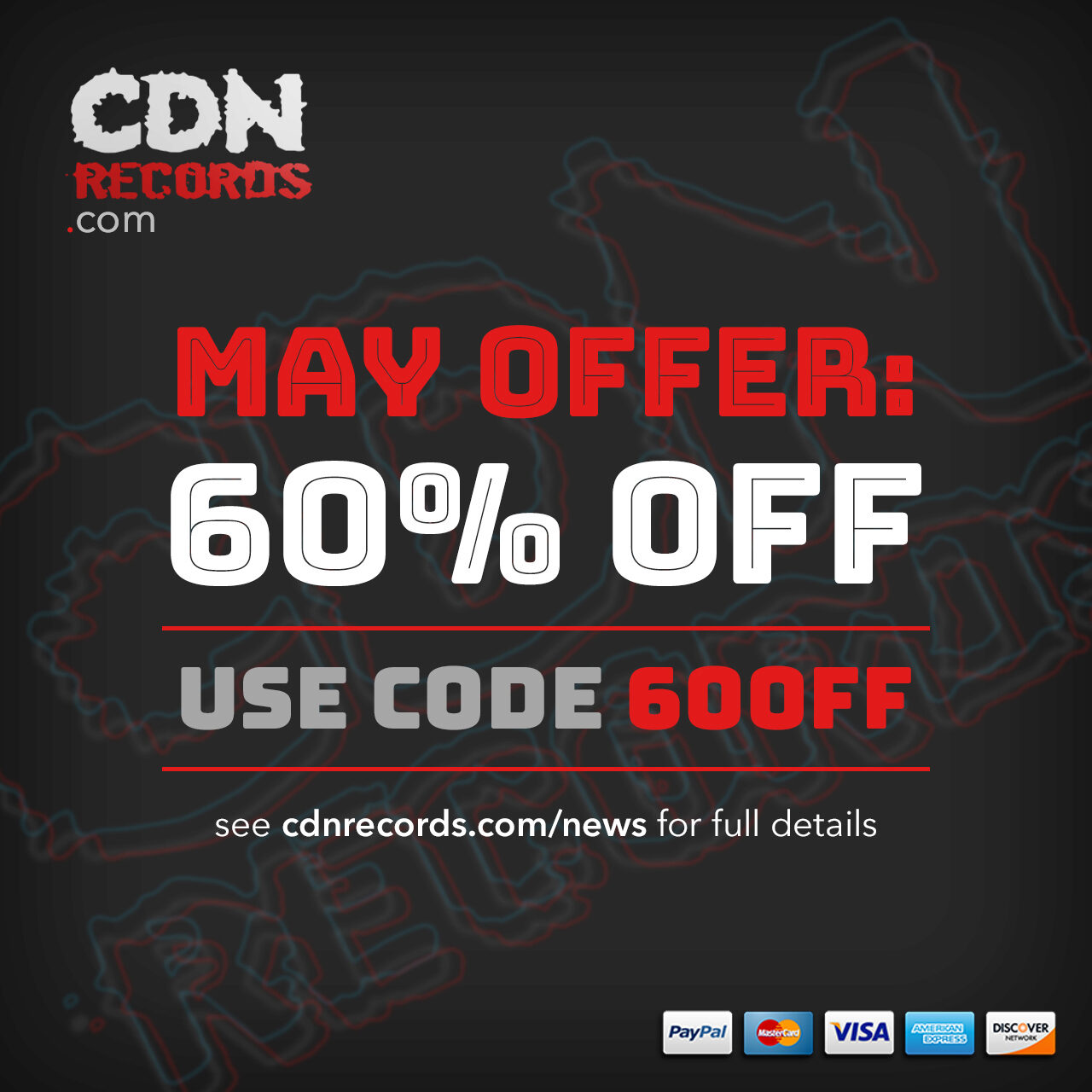 Promo graphic for 60% off in May