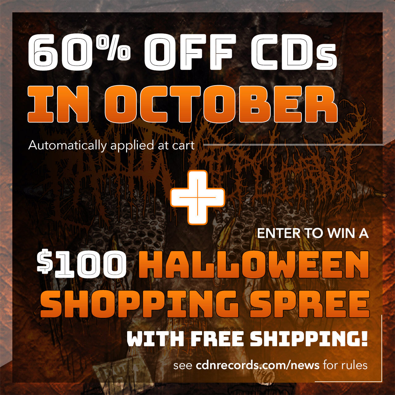 Updated promo graphic for 60% off CDs and Halloween Shopping Spree contest