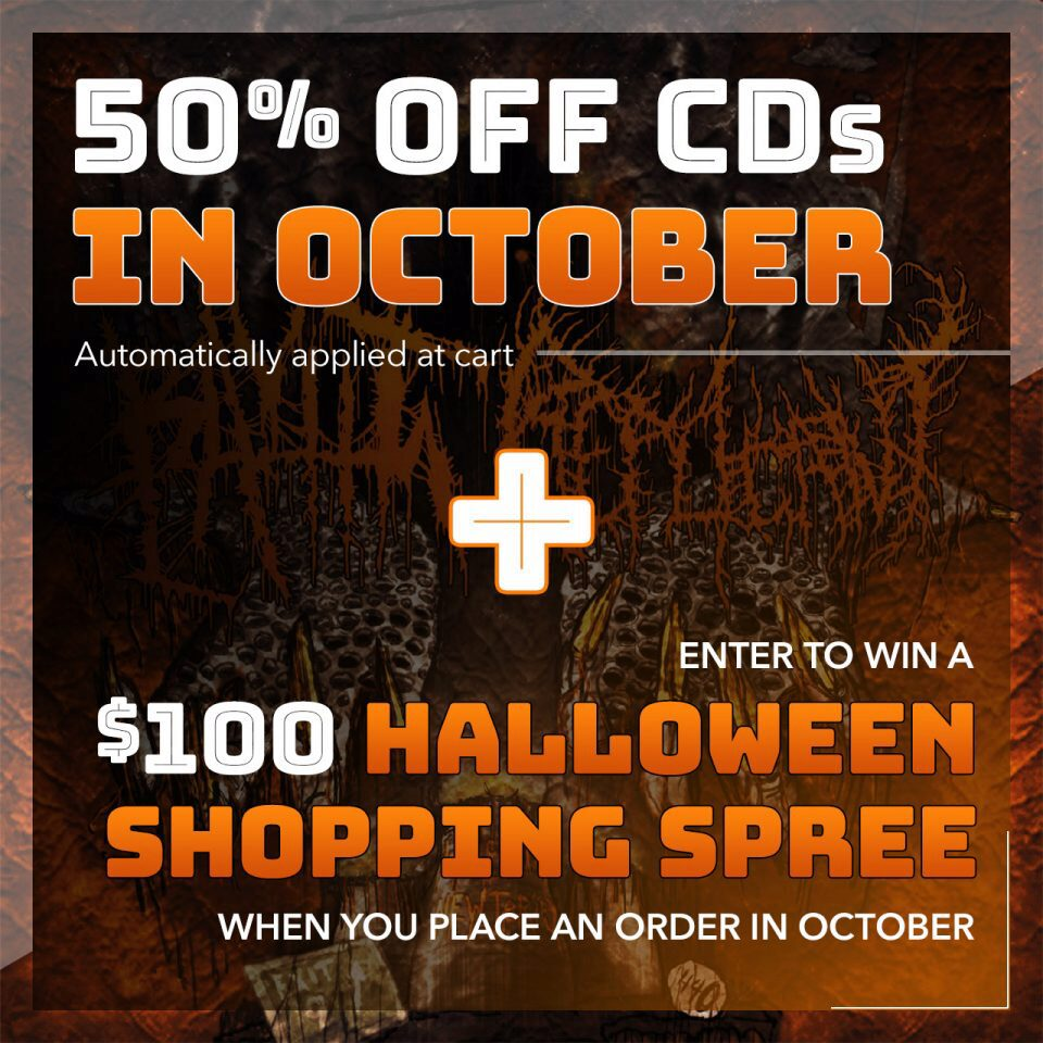 Promo graphic for 50% off CDs and Halloween Shopping Spree contest