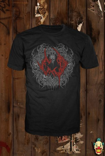 White and red ExD emlbem on a black t-shirt