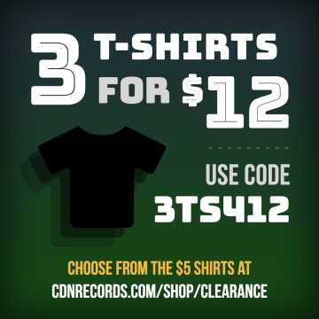 3 t-shirts for $12 CAD promo graphic
