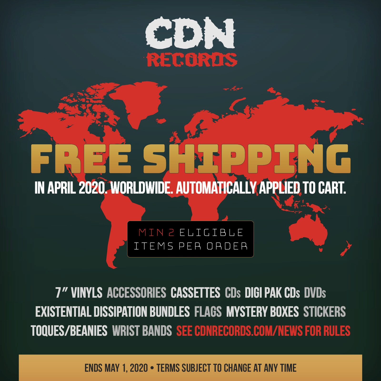 Promo graphic for Free Shipping in April