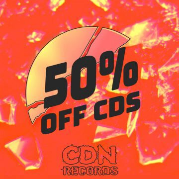 Promo graphic for 50% off CDs in August