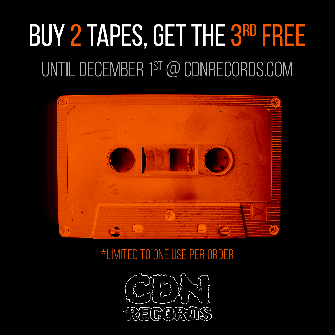 Promo graphic for November special on cassettes