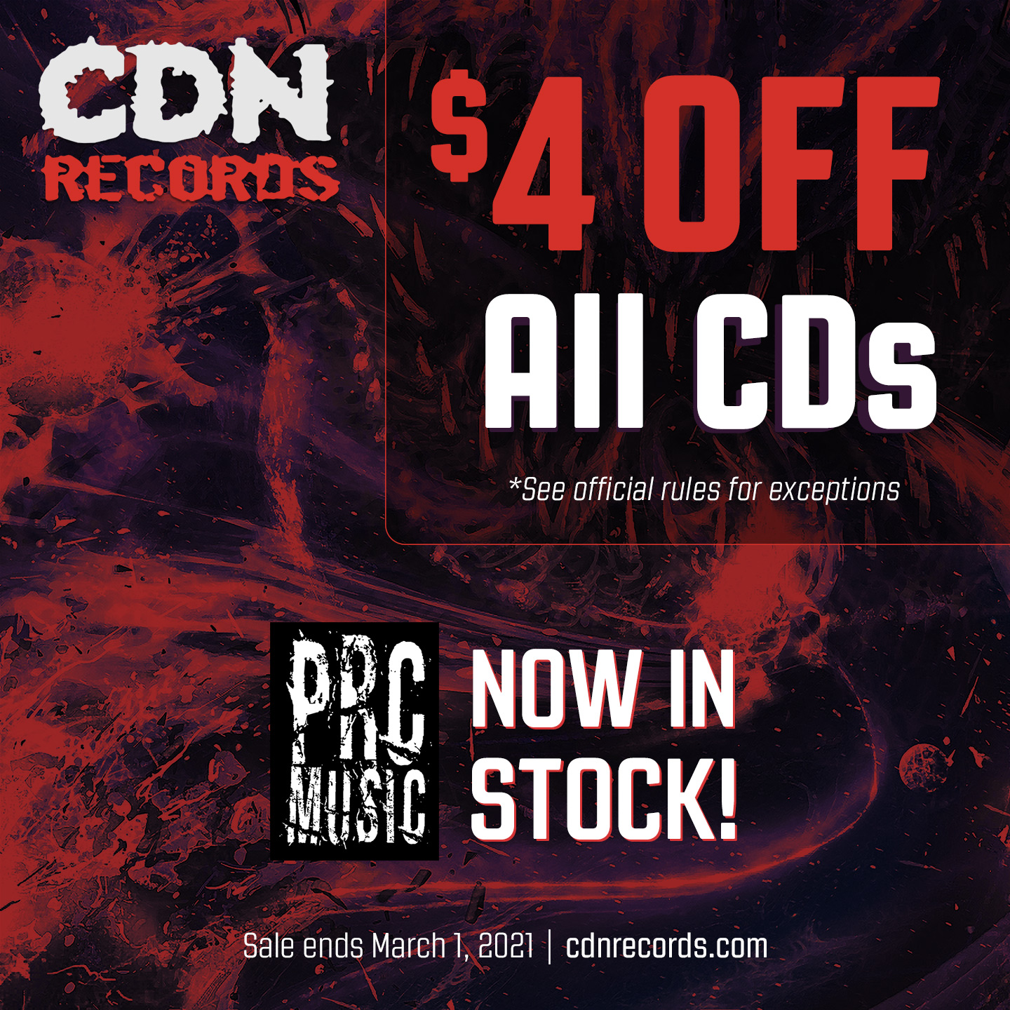 Promo graphic for $4 Off CDs in February