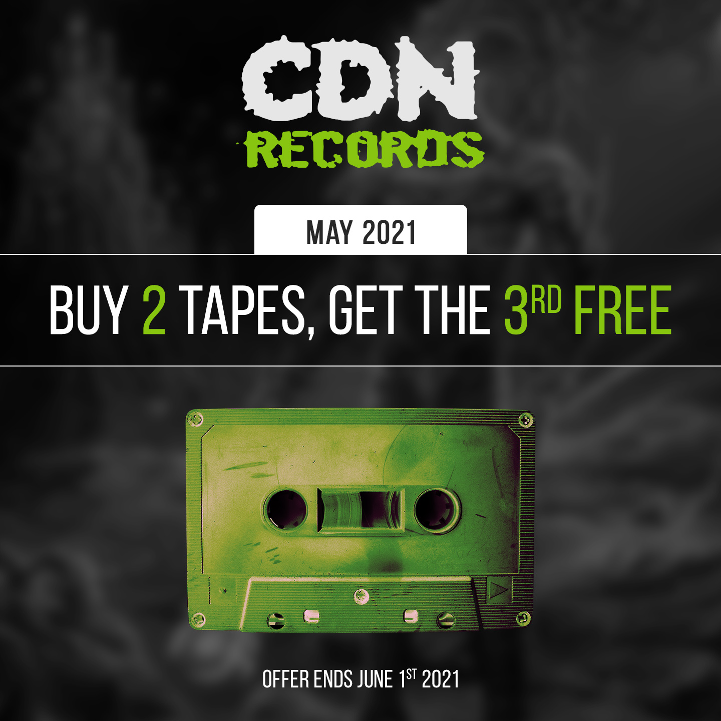 Promo graphic for May tapes deal